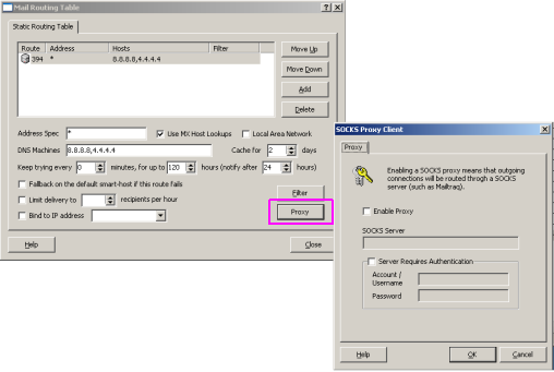 SOCKS Proxy Client in the Mailtraq email server