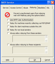 Relaying-tab in the Mailtraq email server